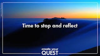 A blue image of a desolate mountain edge at sunset with the words – Time to stop and reflect. Create your quest. An analogy to making a quest for good counselling supervision.